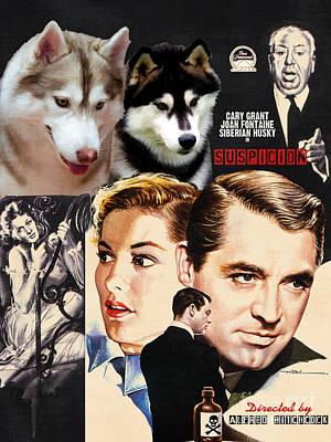 Siberian Husky Painting - Siberian Husky Art Canvas Print - Suspicion Movie Poster by Sandra Sij