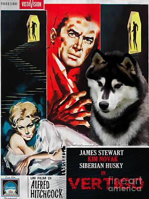 Siberian Husky Painting - Siberian Husky Art Canvas Print - Vertigo Movie Poster by Sandra Sij