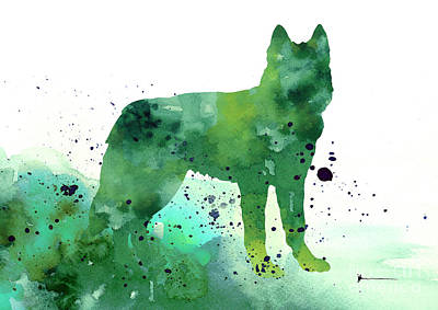 Husky Mixed Media - Siberian Husky Dog Silhouette Watercolor Art Print Painting by Joanna Szmerdt