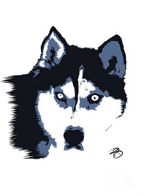 Digital Art - Siberian Husky by Rachel Barrett
