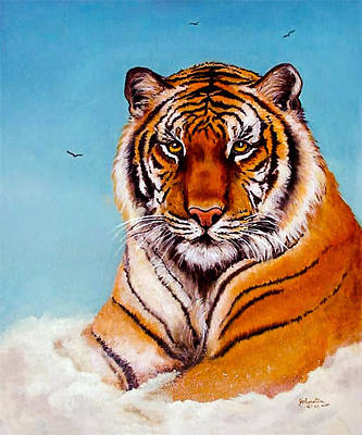 Print featuring the painting Siberian King Tiger by Bob and Nadine Johnston