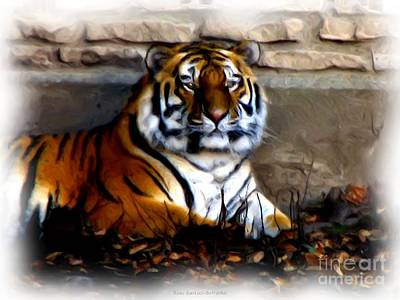 New York Photograph - Siberian Tiger With Oil Painting Effect by Rose Santuci-Sofranko