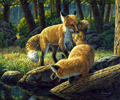 Pond Painting - Red Foxes - Sibling Rivalry by Crista Forest