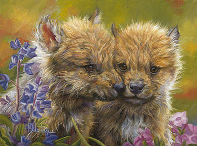 Gray Wolf Painting - Siblings by Lucie Bilodeau