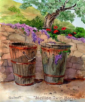 Painting - Sicilian Twin Barrels by Kathleen  Gwinnett