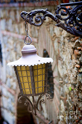Sicilian Village Lamp Art Print by David Smith