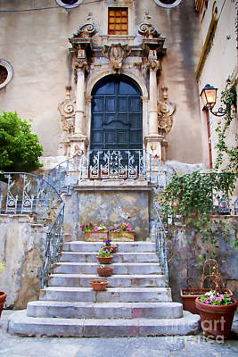 Sicilian Village Steps And Door Art Print by David Smith