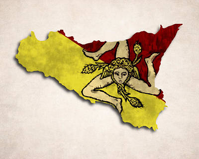 Sicily Map Art With Flag Design Art Print by World Art Prints And Designs