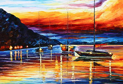 Waterscape Painting - Sicily Messina by Leonid Afremov