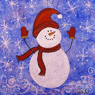 Floating Girl Painting - Sid The Snowman by Jane Chesnut