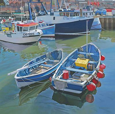 Bouys Painting - Side By Side In Whitby Harbour by Graham Clark