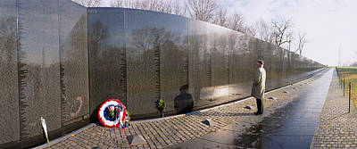 Vietnam Veterans Memorial Wall Photograph - Side Profile Of A Person Standing by Panoramic Images