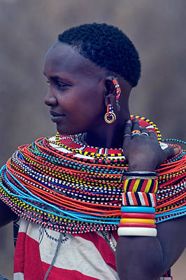 Earrings Photograph - Side Profile Of A Samburu Tribal Woman by Panoramic Images