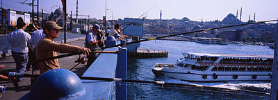Galata Photograph - Side Profile Of Fishermen Fishing by Panoramic Images