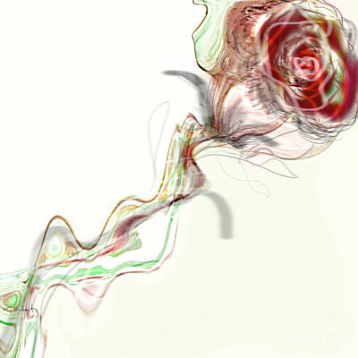 Art Print featuring the digital art Side Rose by Gabrielle Schertz