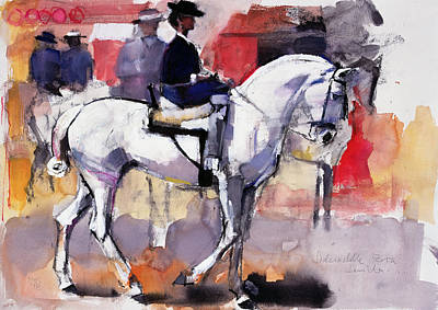 Dressage Art Painting - Side Saddle At The Feria De Sevilla by Mark Adlington