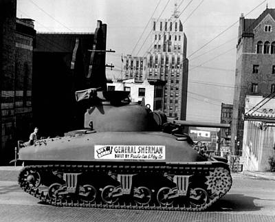 War Bonds Photograph - Side View Of Sherman Tank by Retro Images Archive
