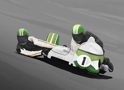 Sidecar Racer Art Print by MOTORVATE STUDIO Colin Tresadern