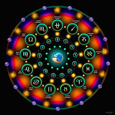 Digital Art - Sidereal Celtic Moon Zodiac by Derek Gedney