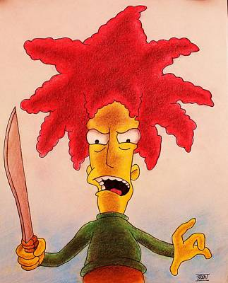 Drawing - Sideshow Bob by Brent Andrew Doty