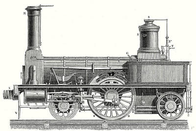 Mechanism Drawing - Sideview Of A Locomotive Showing The Mechanism Of The Engine by English School