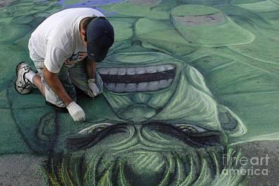 The Hulk Photograph - Sidewalk Art 4 by Bob Christopher