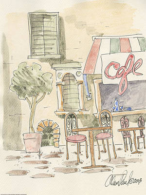 Outdoor Cafe Painting - Sidewalk Cafe by Alan Paul