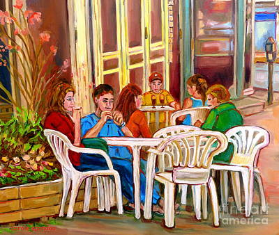 Painting - Sidewalk Cafe Bistro On The Terrace-rue Saint Denis Paintings -montreal-carole Spandau by Carole Spandau
