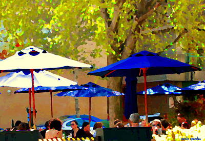 Montreal Cityscenes Painting - Sidewalk Cafe Blue Bistro Umbrellas Downtown Oasis Terrace Montreal City Scene Carole Spandau by Carole Spandau