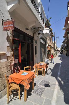 Coffeehouse Photograph - Sidewalk Cafe In Greece by Matthias Hauser