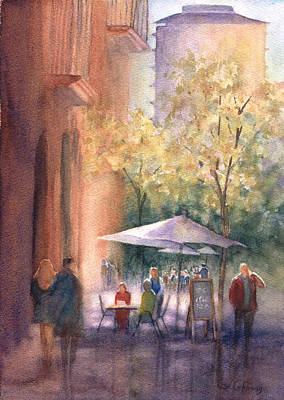 Italy Painting - Sidewalk Cafe by Judy Coffman