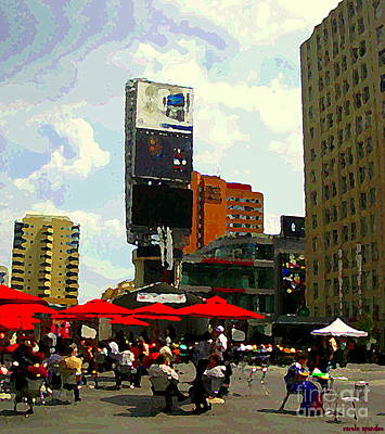 Painting - Sidewalk Cafe Lunch Break Red Umbrellas Yonge Dundas Square Toronto Cityscene C Spandau Canadian Art by Carole Spandau