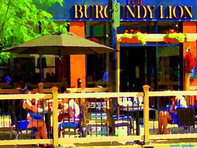 Quebec Painting - Sidewalk Cafe Lunch On The Terrace Burgundy Lion Pub St Henri Montreal Scene Carole Spandau by Carole Spandau