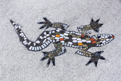 Digital Art - Sidewalk Lizard by Photographic Art by Russel Ray Photos