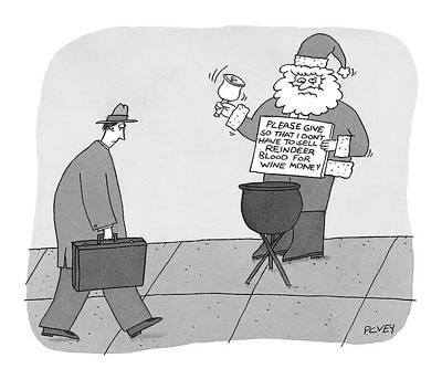 Santa Claus Drawing - Sidewalk Santa's Sign Reads:  Please Give by Peter C. Vey