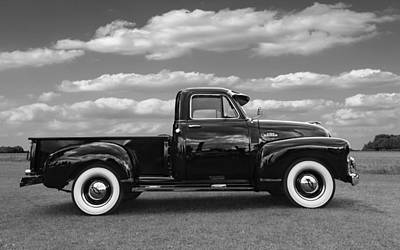 Sideways - Chevy Truck In Black And White Art Print by Gill Billington