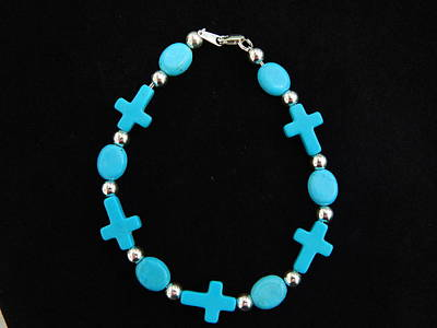Sideways Cross Bracelet Sterling Silver And Chalk Turquoise  Original