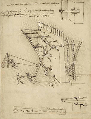 Siege Machine In Defense Of Fortification With Details Of Machine From Atlantic Codex Art Print by Leonardo Da Vinci