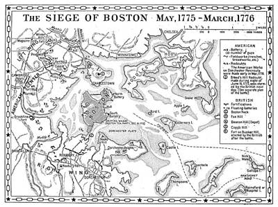 Photograph - Siege Of Boston Map by Granger