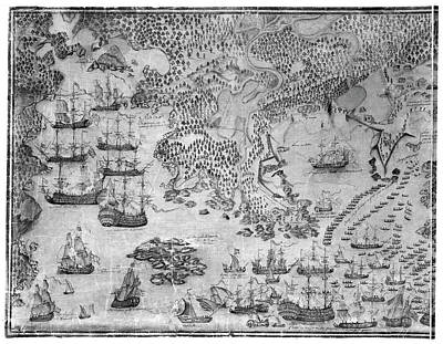 Nova Scotia Drawing - Siege Of Louisbourg, 1758 by Granger