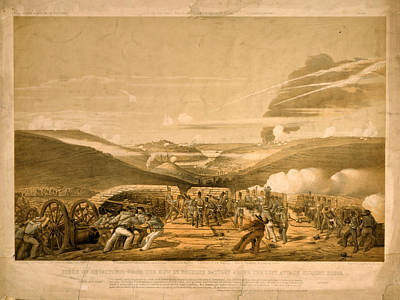 Stanford Drawing - Siege Of Sevastopol From The New 32 Pounder Battery by Litz Collection