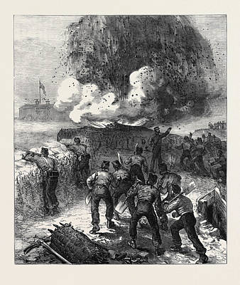 Siege Operations At Chatham Explosion Of A Mine 1871 Art Print