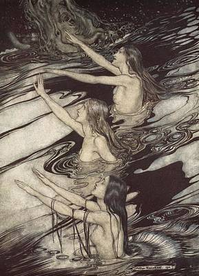 Norse Drawing - Siegfried Siegfried Our Warning Is True Flee Oh Flee From The Curse by Arthur Rackham