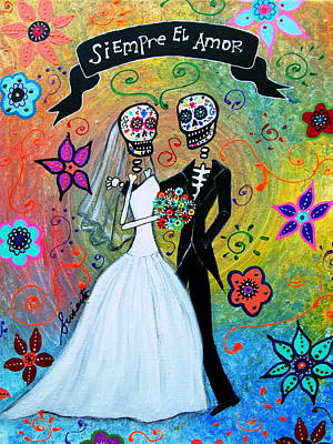 Bride And Groom Painting - Siempre El Amor by Pristine Cartera Turkus