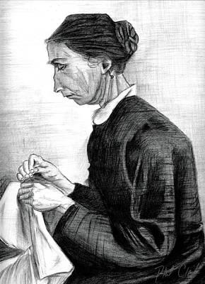 Phil Clark Drawing - Sien Sewing Half Figure by Phil Clark
