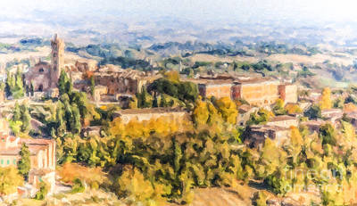 Digital Art - Siena Countryside by Liz Leyden