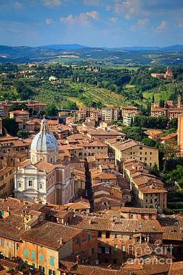 Siena From Above Art Print by Inge Johnsson