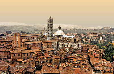 Italian Countryside Photograph - Siena Italy Rooftops by Linda  Parker