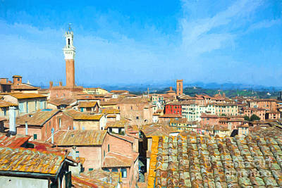 Medieval Style Painting - Siena Roofs Oil On Canvas by Ezeepics