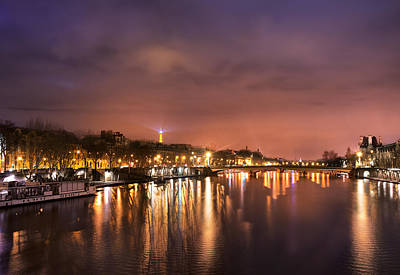 Photograph - Siene River At Night by Radoslav Nedelchev